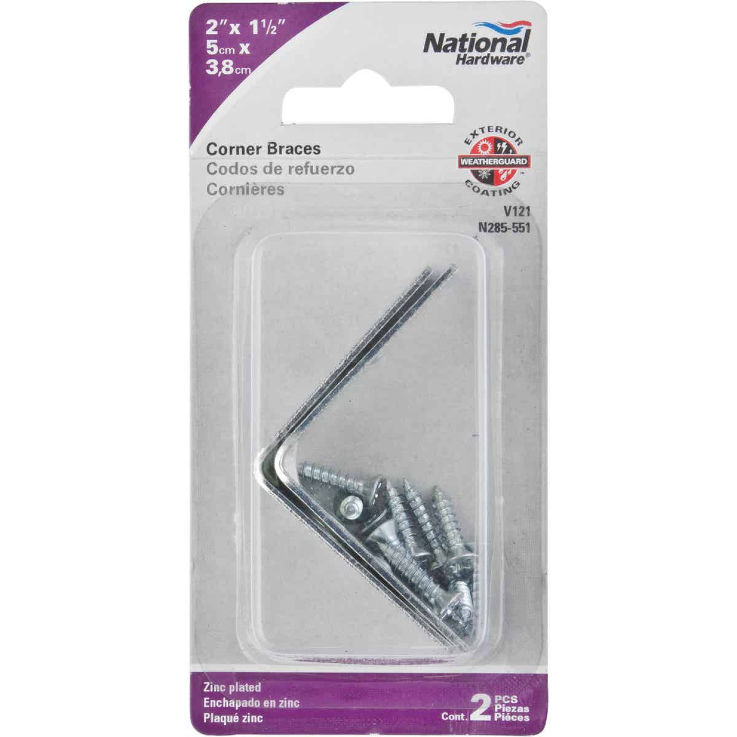 National Catalog V121 2 In. x 1-1/2 In. Double Wide Zinc Corner Brace Image 2