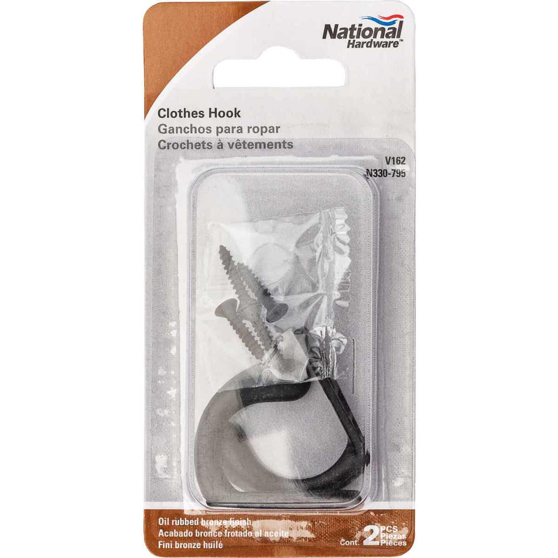 National Oil Rub Bronze Single Clothes Wardrobe Hook, 2 per Card Image 2
