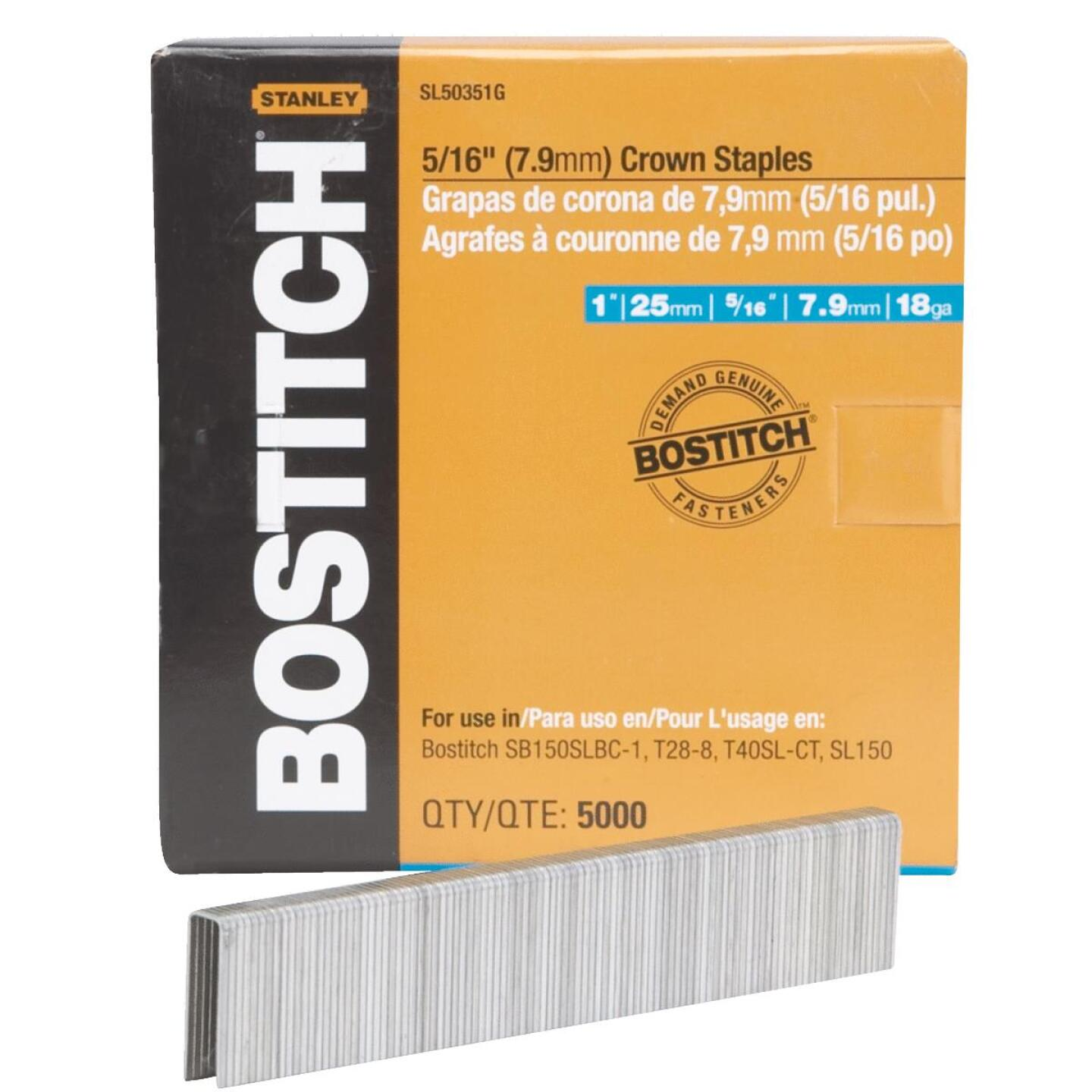 Bostitch 18-Gauge 5/16 In. x 1 In. Pneumatic Cap Staples (5000 Ct.) Image 1