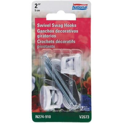 National 2 In. White Die Cast Swivel Swag Hook (2-Pack)