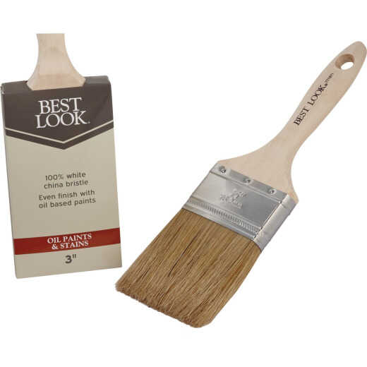Best Look 3 In. Flat White Natural China Bristle Paint Brush